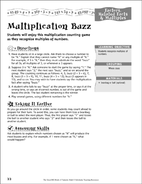 Multiplication Buzz - Printable Worksheet
