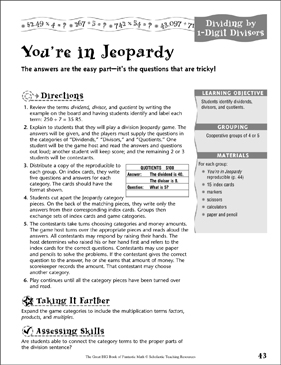 You're in Jeopardy (Dividing by 1-Digit Divisors ) - Printable Worksheet