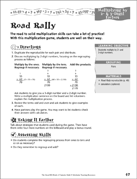Road Rally (Multiplying by 1-, 2- & 3-Digit Factors) - Printable Worksheet