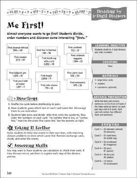 Me First! (Dividing by 2-Digit Divisors ) - Printable Worksheet