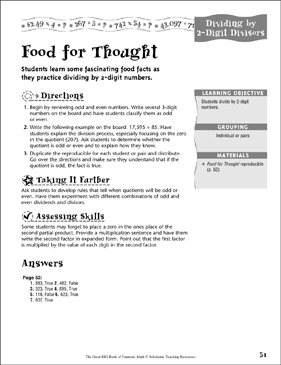 Food for Thought (Dividing by 2-Digit Divisors ) - Printable Worksheet