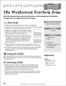 The Mysterious Fraction Zone (Equivalent Fractions) - Printable Worksheet