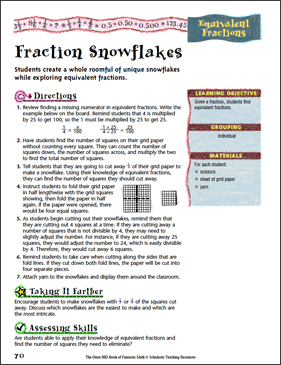 Fraction Snowflakes (Equivalent Fractions) - Printable Worksheet
