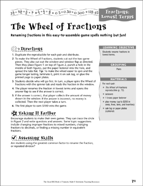 The Wheel of Fractions (Lowest Terms, Fractions) - Printable Worksheet