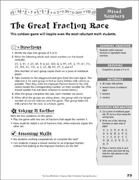 The Great Fraction Race (Mixed Numbers) - Printable Worksheet
