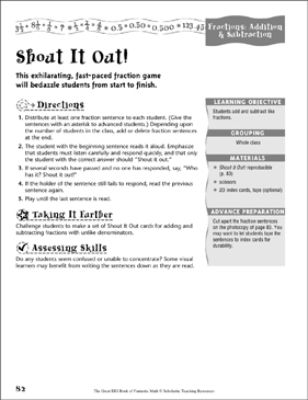 Shout It Out! (Fractions, Addition & Subtraction) - Printable Worksheet