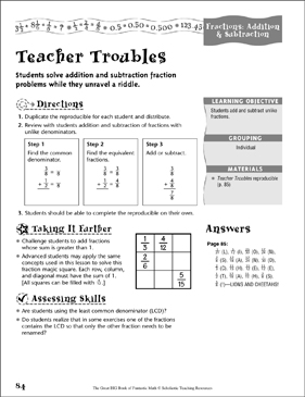 Teacher Troubles (Fractions, Addition & Subtraction) - Printable Worksheet