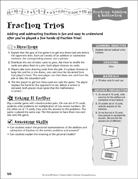 Fraction Trios (Fractions, Addition & Subtraction) - Printable Worksheet