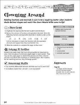 Clowning Around (Relating Fractions With Mixed Numbers & Decimals) - Printable Worksheet