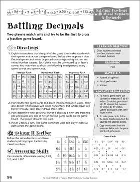 battling decimals relating fractions with mixed numbers decimals printable game boards. Black Bedroom Furniture Sets. Home Design Ideas
