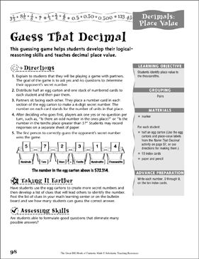 Guess That Decimal (Decimals, Place Value) - Printable Worksheet