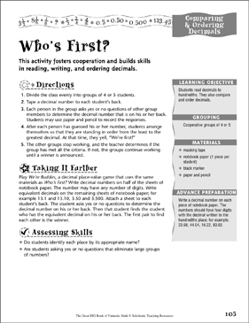 Who's First? (Comparing & Ordering Decimals ) - Printable Worksheet