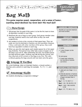 Bag Math (Equivalent Decimals) - Printable Worksheet