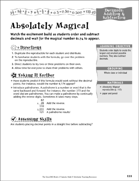 Absolutely Magical (Decimals, Addition & Subtraction) - Printable Worksheet
