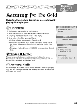 Running for the Gold (Decimals, Addition & Subtraction) - Printable Worksheet