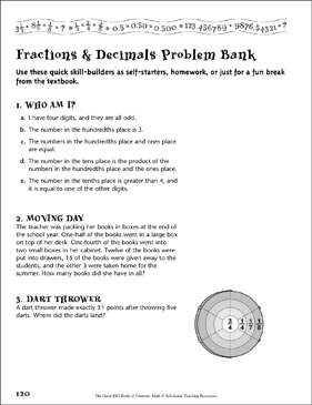 Problem Bank (Fractions & Decimals) - Printable Worksheet