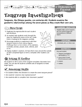Tangram Investigations (2-Dimensional Figures) - Printable Worksheet
