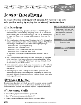 Icosa-Questions (3-Dimensional Figures) - Printable Worksheet