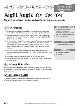 Right Angle Tic-Tac-Toe (Coordinate Geometry) - Printable Worksheet