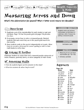 Measuring Across and Down (Weight, Capacity & Mass) - Printable Worksheet