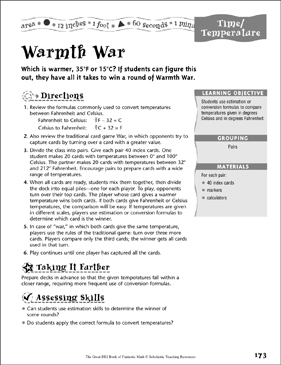 Warmth War (Time/Temperature) - Printable Worksheet