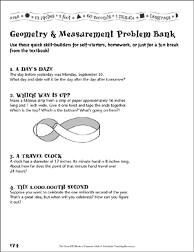 Problem Bank (Geometry & Measurement) - Printable Worksheet