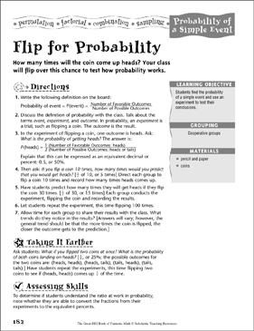 Flip for Probability (Probability of a Simple Event) - Printable Worksheet