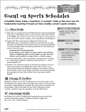 Count on Sports Schedules (Fundamental Counting Principle ) - Printable Worksheet