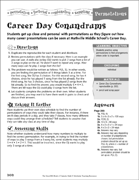 Career Day Conundrums (Permutations ) - Printable Worksheet