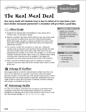 The Real Meal Deal (Simulations) - Printable Worksheet