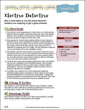 Elective Detective (Sampling) - Printable Worksheet