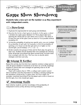 Game Show Showdown (Independent Probability) - Printable Worksheet