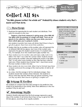 Collect All Six (Real-World Applications) - Printable Worksheet