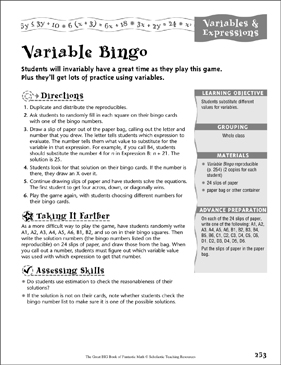 Variable Bingo (Variables & Expressions) - Printable Worksheet