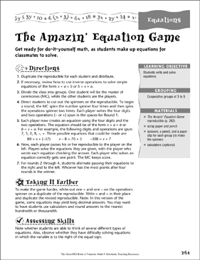 The Amazin' Equation Game - Printable Worksheet
