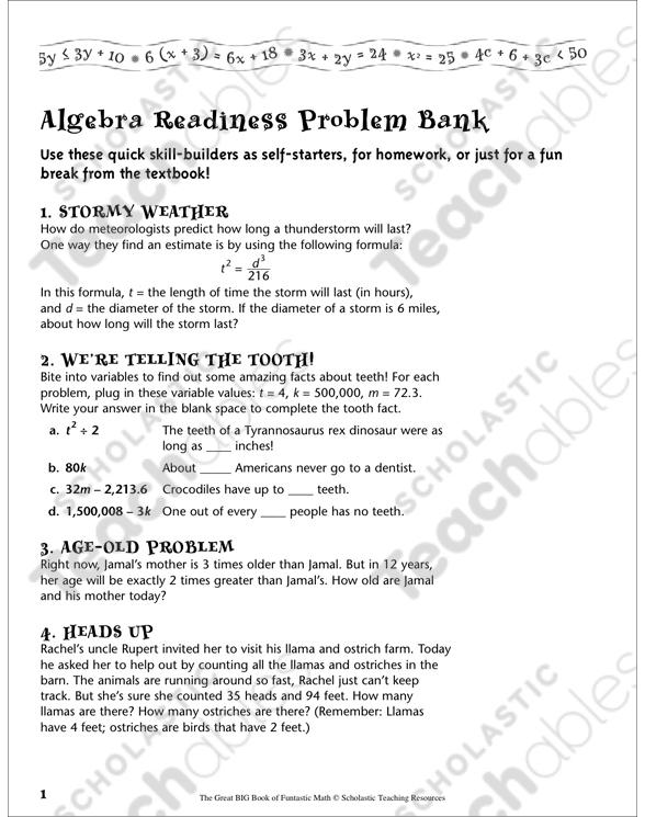 Problem Bank Algebra Readiness Printable Lesson Plans