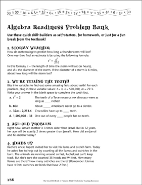 Problem Bank (Algebra Readiness) - Printable Worksheet