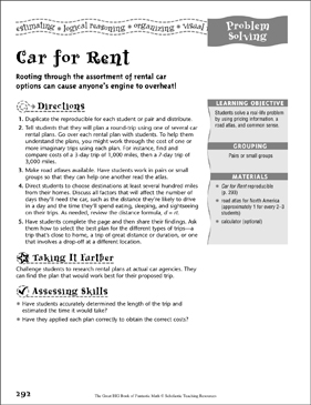 Car for Rent (Problem Solving) - Printable Worksheet