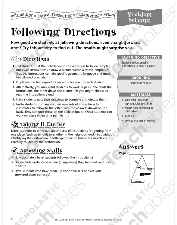 Following Directions Problem Solving Printable Lesson Plans