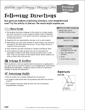 Following Directions (Problem Solving) - Printable Worksheet