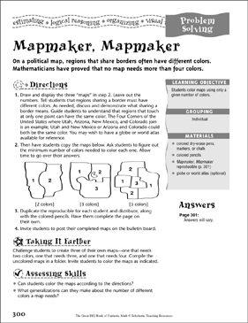 Mapmaker, Mapmaker (Problem Solving) - Printable Worksheet
