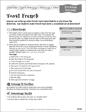 Toast French (Logic) - Printable Worksheet