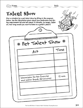 Talent Show (Logic) - Printable Worksheet