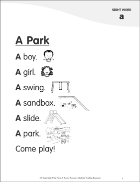"A Park: Poem for Sight Word ""a"" - Printable Worksheet"