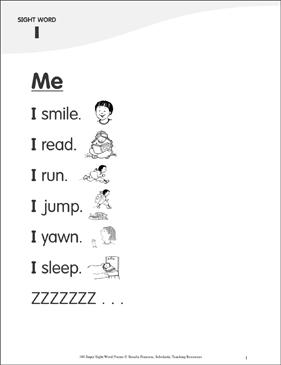 "Me: Poem for Sight Word ""I"" | Printable Skills Sheets"