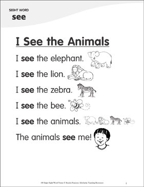 "I See the Animals: Poem for Sight Word ""see"" - Printable Worksheet"