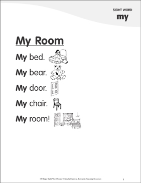 "My Room: Poem for Sight Word ""my"" - Printable Worksheet"