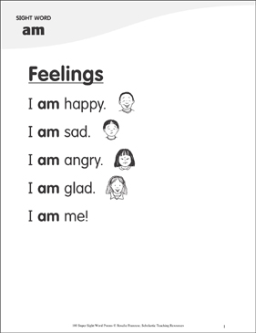 "Feelings: Poem for Sight Word ""am"" - Printable Worksheet"