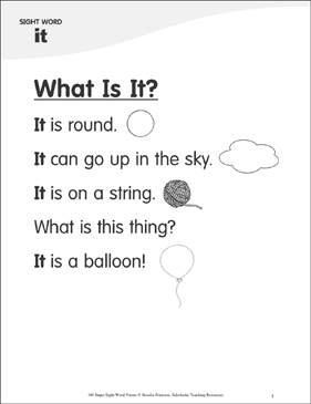 "What Is It?: Poem for Sight Word ""it"" - Printable Worksheet"