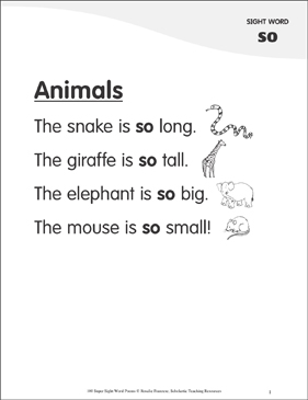 "Animals: Poem for Sight Word ""so"" - Printable Worksheet"